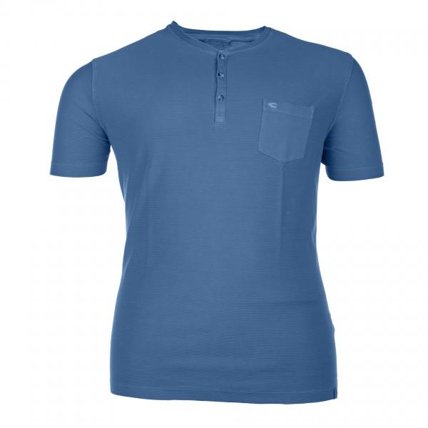 T-Shirt mit Serafino-Ausschnitt kurzarm Jersey