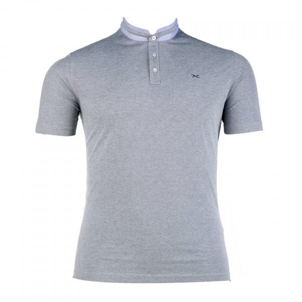 T-Shirt mit Serafino-Ausschnitt kurzarm Piquet