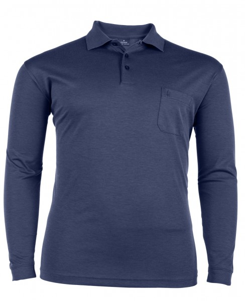 Polo-Shirt mit Knopfleiste langarm Interlock Basic