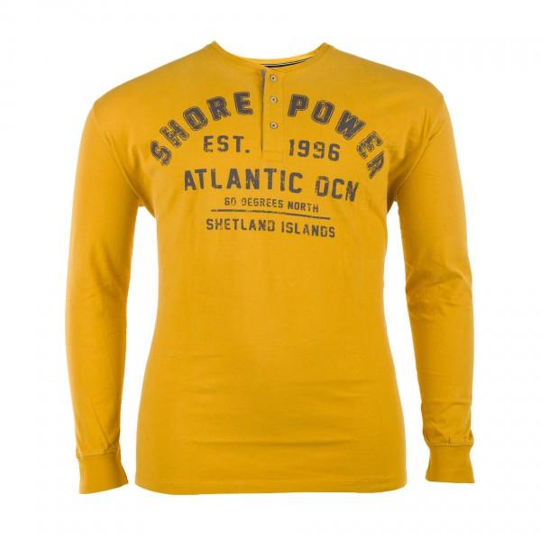 Rundhals T-Shirt mit Knopfleiste langarm Jersey